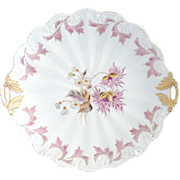 Antique porcelain cake plate raised dot R.S. Prussia Book Piece c. 1880s