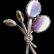 Vintage flower brooch purple slag flowers