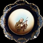 Rosenthal portrait plate musical monk flow blue gold c. 1896