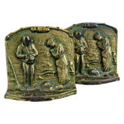 Vintage bronze bookends The Angelus by Francois Millet c. 1930s
