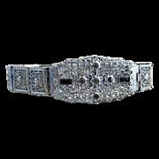 Edwardian sterling bracelet filigree emerald rhinestones