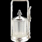 Antique pickle castor silver holder tongs EAPG jar Barbour Silver c. 1890s