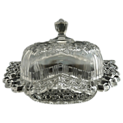 Antique glass butter dish Daisy & Button c. 1909 Bryce
