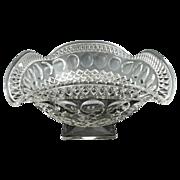 Vintage glass bowl pedestal thumbprint c. 1920s