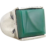 Vintage Mexican silver ring chalcedony stone Mens pinky