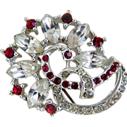 Vintage ruby rhinestone brooch star c. 1950s