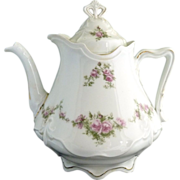 Victorian porcelain teapot pink roses Ohme c. 1892