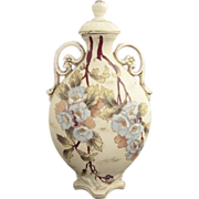Antique porcelain flask hand painted Victoria Austria c. 1891