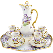 Victorian porcelain chocolate pot cups tray Limoges Ginori hand painted