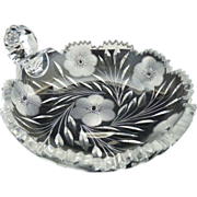 Brilliant cut glass olive dish nappy daisies