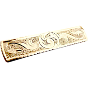 Victorian bar brooch chased scrolling