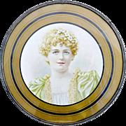 Victorian flue cover womans portrait c. 1900