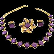 Vintage amethyst demi parure necklace brooch earrings 1940s