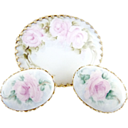 Vintage porcelain brooch hand painted roses demi parure