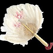 Antique feather down hand fan bone handle summer wedding