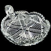 Antique cut glass dish handled nappy diamond pattern