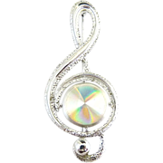 Vintage brooch musical G clef