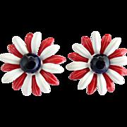 Vintage earrings red white blue patriotic