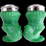SOLD Vintage Boyd green slag glass bird salt pepper c. 1978 - Red Tag Sale Item