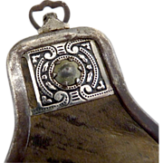 Early leather pouch purse metal clasp