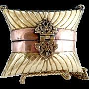 Brass copper pillow purse scroll latch 1970s