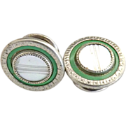 Mother of pearl shirt stud French cuff green enameling