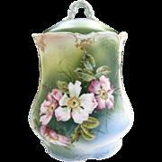 Victorian porcelain biscuit jar hand painted flowers c. 1880s
