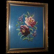Lovely Vintage Framed Floral Needlepoint