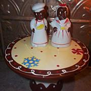 BLACK AMERICANA Salt & Pepper Shakers Mammy Salty  Chef Peppy