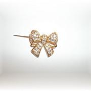 Small But OH So Pretty Swarovski Crystal Rhinestone Bow Pin / Brooch