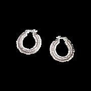 Pretty Vintage 925 Sterling Silver Hoop Earrings Pierced