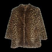 Ladies Vintage Faux Leopard Print Short Coat Jacket