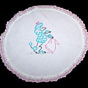 Charming Linen Embroidery Blue Poodle Doily Set