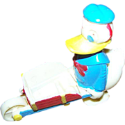 Vintage Novelty Donald Duck Wheel Barrow Ramp Walker