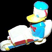 Vintage Novelty Donald Duck Wheel Barrow Ramp Walker