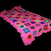 Bright Cheerful Colorful Crochet Granny Square Quilt
