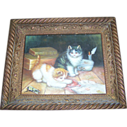 Charming Framed Oil Painting Kitty Cats At Play Artist Signed