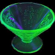Four Madrid Uranium Depression Green Glass Cone Sherbets