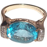 Stunning London Blue Topaz Gemstone 10 K Gold Ring Size 7.5