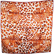 Spotted Wild Cat Vintage Ladies Small Scarf Glentex