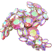 Pretty In Pink Vintage Designer Signed Sherman Brooch Pin Rhinestone