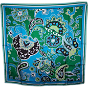 Vintage Banana Republic Silk Scarf Paisley Print Hand Rolled Edges