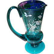 Lovely Blue Hand Blown Pontil Jug Enamel Painted Butterfly Floral