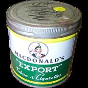 Collectible Vintage Lassie Tobacco Tin Can MacDonald's EXPORT Cigarettes
