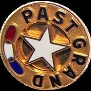 Vintage 10K Yellow Gold Enamel IOOF Odd Fellows Past Grand Master Pinch Back Pin
