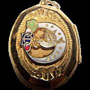 Small Daughters of Rebekah Odd Fellows Masonic Fraternal enamel  Locket Charm Pendant