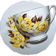 Yellow Rose Floral Tea Cup Saucer Set Colclough Made in England