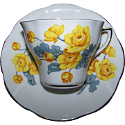 Pretty Vintage Yellow Floral  Daffodil Tea Cup Saucer Set CLARE