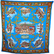 Vintage Souvenir Travel Scarf Roma Featuring Tourist Attractions
