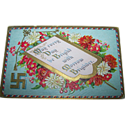 SALE Embossed Floral Post Card May Every Day Be Bright Good Fortune Prosperity Swastika Symbol